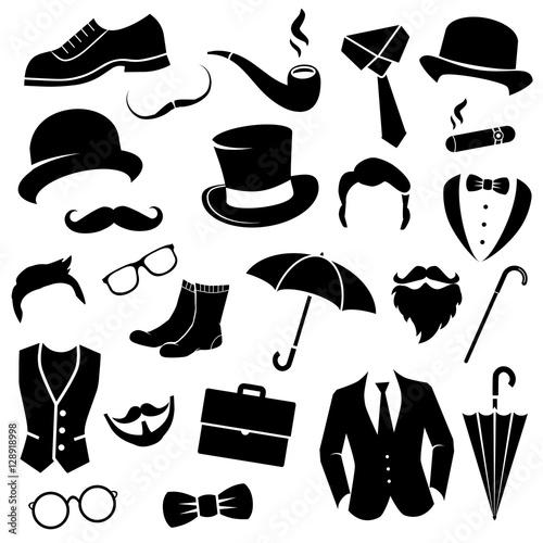 Foto Gentleman icon set. Vector art.