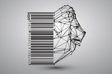Głowa lwa z trójkątów, linii i kropek z kodem kreskowym