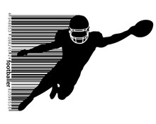 Silhouette Of A Football Player And Barcode. Rugby. American Footballer