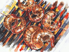 Shrimps Cooking Grilling Grill...