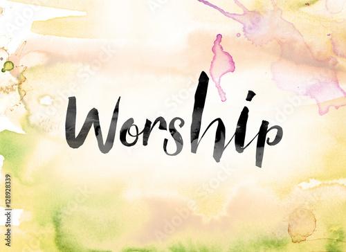 Worship Colorful Watercolor and Ink Word Art Wallpaper Mural