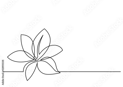 continuous line drawing of flower Wallpaper Mural