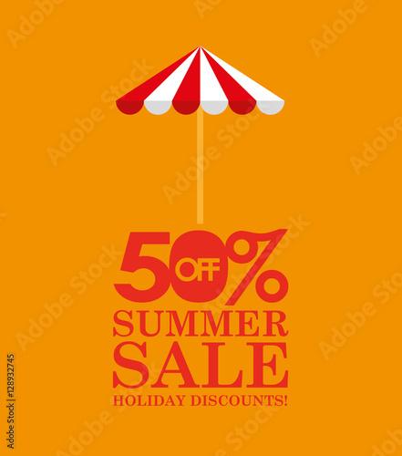 Photo  summer sale 50 discounts with umbrella vector illustration eps 10