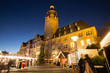townhall remscheid germany and a christmas market in the evening