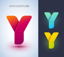 Set Of Abstract Letter Y Collection. Can Be Used For Corporate Identity, Application Icon, Comapny Logotype, Different Logo Sign Designs. Origami Paper Style