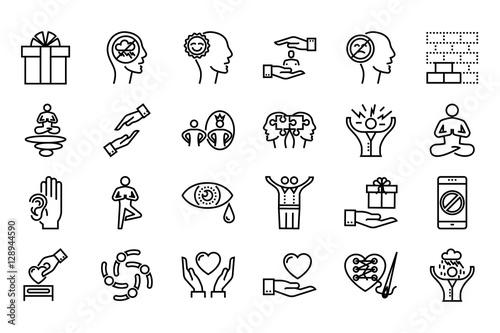 Fotografia Conscious living icons set
