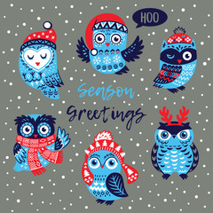 Season Greetings card with owls