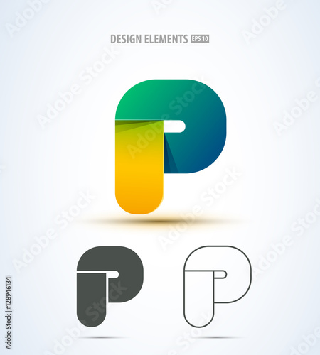 Vector Abstract Letter P Logo Icon App Icon Set For Material Design