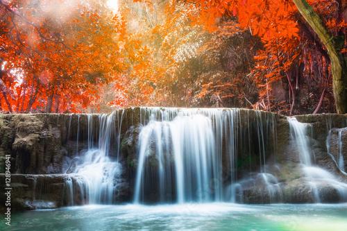 Montage in der Fensternische Wasserfalle Waterfall autumn deep forest scenic natural sunlight
