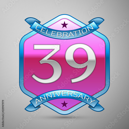 Thirty Nine Years Anniversary Celebration Silver Logo With Blue