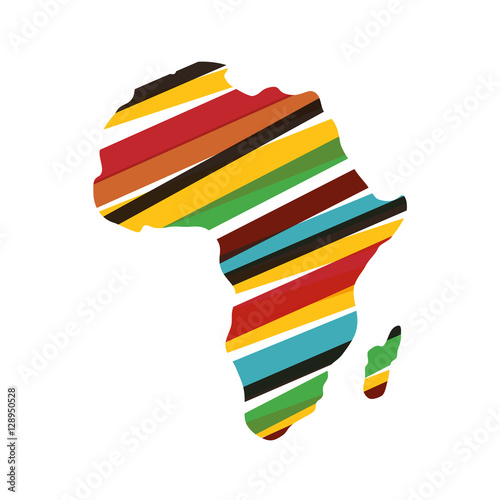 Tablou Canvas Africa map silhouette icon vector illustration graphic design