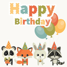 Card For Birthday With Cute An...