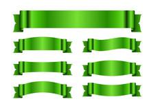 Green Ribbons Set. Satin Blank...