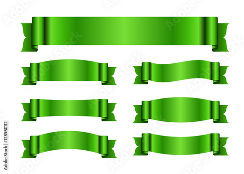 green ribbons set satin blank banners collection design label