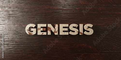 Genesis - grungy wooden headline on Maple  - 3D rendered royalty free stock image Canvas