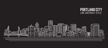 Cityscape Building Line Art Vector Illustration Design - Portland City