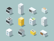 Vector Isometric Set Of Household Appliances Icon, 3d Flat Interior Design.