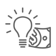 Lightbulb And Dollar Icon For A Moneymaking Idea