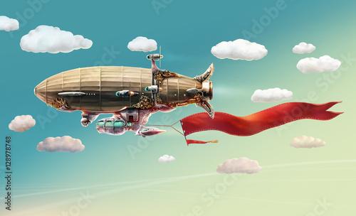 Fantastyczny statek powietrzny na niebie i chmurach. Ilustracja rastrowa.