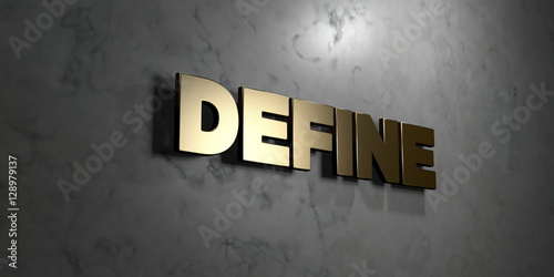 define gold sign mounted on glossy marble wall 3d rendered