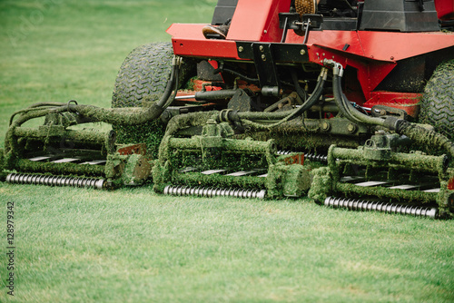 Fairway mower. Golf course maintenance equipment, fairway mower Fototapeta