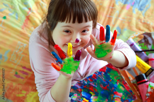 Fototapeta Cute little girl with painted hands obraz