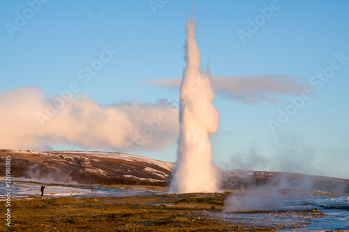 Strokkur geyser erupting during Winter in Iceland Canvas Print