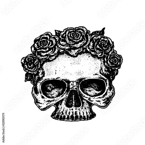 Printed kitchen splashbacks Watercolor skull эскиз татуировки череп с цветами