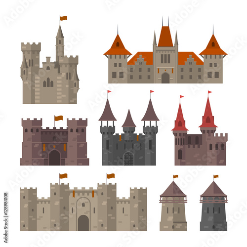 Medieval castles, fortresses and strongholds with fortified wall Canvas Print