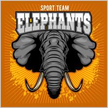 Elephants - Sport Club Team Symbol. Safari Hunt Badge Of Yellow, Elephant Tusk.