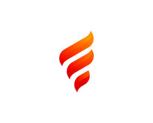 Initial Letter F Flame Fire Logo Design Template