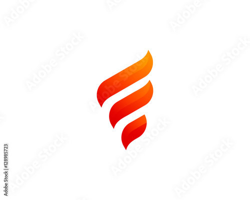 Initial Letter F Flame Fire Logo Design Template - Buy this stock ...