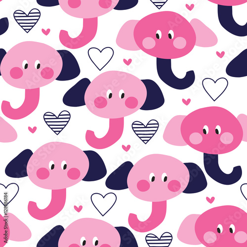 seamless cute elephant pattern vector illustration
