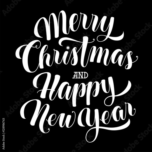 merry christmas and happy new year text calligraphic vector illustration white over black background