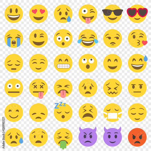 Vector Flat Emoticon big set Poster