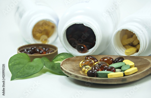 Fotografie, Obraz  3 type vitamins herbal for beauty