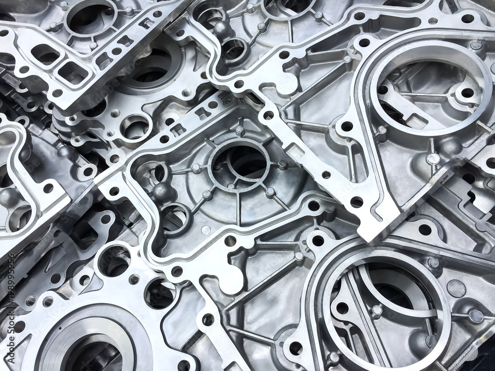 Fototapety, obrazy: Pattern of aluminum automotive parts cover crank case