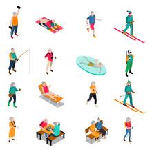 Elderly People Isometric Icons Set