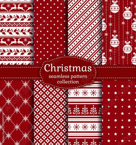 Stoffe zum Nähen Weihnachten seamless pattern. Vektor-Set.