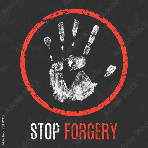 Valokuva  Vector illustration. Social problems of humanity. Stop forgery.