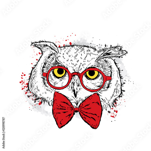 Photo sur Toile Croquis dessinés à la main des animaux Cute owl with glasses and a tie. Vector illustration for a card or poster. Print on clothes. Bird. Fashion & Style.
