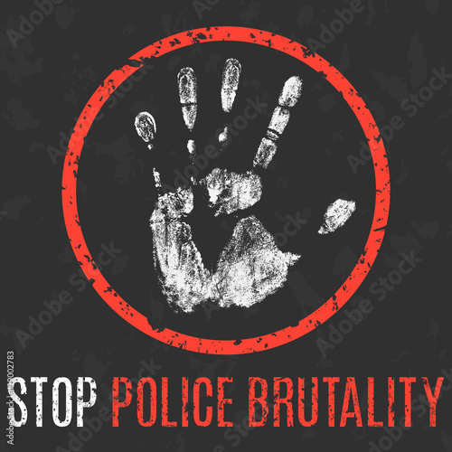 Fotografia  Vector. Social problems of humanity. Stop police brutality.
