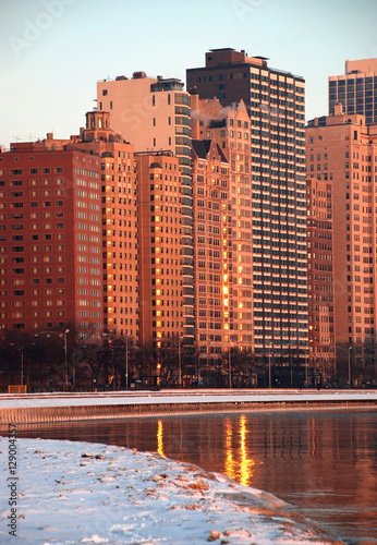 Garden Poster Brown Chicago in winter morning, Chicago downtown, Lake Michgan, Illinois