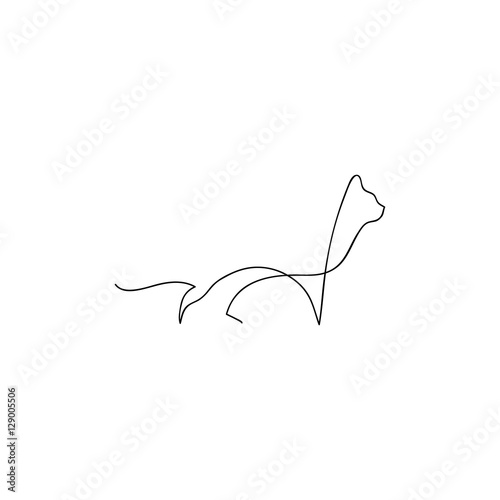 Line Drawing Wallpaper Uk : One line cat design silhouette hand drawn minimalism