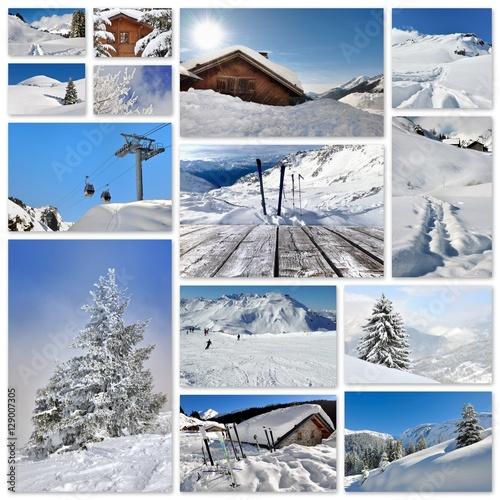 Fotobehang Wintersporten collage photos sur le thème des sports d'hiver