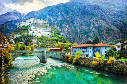 Photo Castles of Valle d'Aosta, Bard fortress,Italy . artistic picture