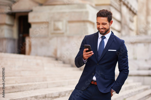 Young businessman on the stairs