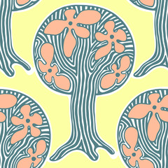 Seamless pattern, vector hand drawn repeating illustration, decorative ornamental stylized endless trees Yellow, blue abstract background, seamles graphic illustration Artistic line drawing silhouette