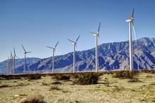 Windmills In The Desert Of Coachella Valley