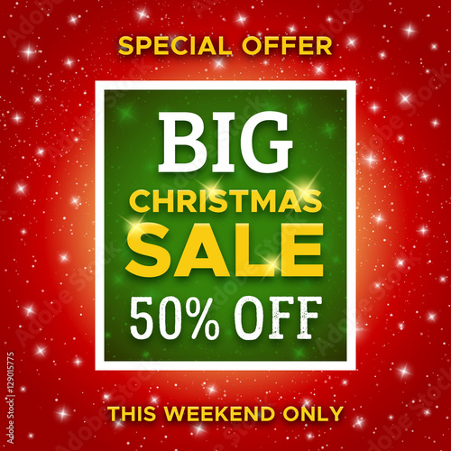 big christmas sale promotion banner with special offer 50 percent